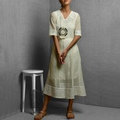 White Cotton Net & Rayon Sheer Fabric Detail Dress With Straight Cut Inner