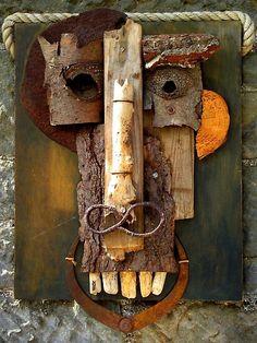 Bark and found objects 1994 Found Object Art, Found Art, Art Object, Stone Art, Wood Stone, 5th Grade Art, Metal Art Sculpture, Cardboard Art, Assemblage Art