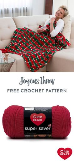 Free Joyous Throw crochet pattern using Red Heart Super Saver yarn. Happy holiday colors are perfect for keeping cozy all through the Christmas season. Multi-color yarn is combined with two solids with interesting cable stripes. It's a gift idea that's a joy to receive! #Yarnspirations #FreeCrochetPattern #CrochetThrow #CrochetBlanket #CrochetAfghan #HolidayBlanket #RedHeartYarn #RedHeartSuperSaver