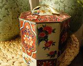 Vintage gris Dunn Biscuit Tin du Motif asiatique d'Ecosse et poignée