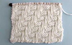 Swatch of Diagonal Chevron Zigzag Knit Stitch Pattern by Studio Knit with Free Pattern and Knitting Chart