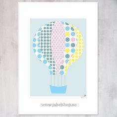 Jubel - A3 Poster, Pattern Air Balloon, 297 x 210 cm matte paper, by Jubelshop on Etsy. www.jubelshop.no