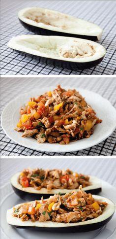 Berinjela recheada com frango Informações nutricionais: (duas metades): 285 calorias