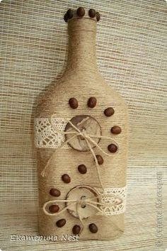 Discover recipes, home ideas, style inspiration and other ideas to try. Glass Bottle Crafts, Wine Bottle Art, Painted Wine Bottles, Diy Bottle, Bottles And Jars, Jar Art, Burlap Crafts, Altered Bottles, Recycled Bottles