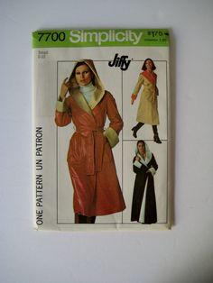 Vintage Simplicity 7700 Sewing Pattern Reversible Coat Pattern Tie Belt Wrap Coat Hooded Coat Pattern Size 8 10 UNCUT