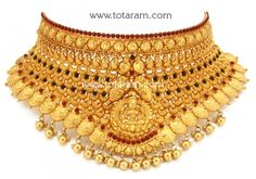 Gold 'Lakshmi' Choker Necklace (Temple Jewellery)l: Totaram Jewelers: Buy Indian Gold jewelry & Diamond jewelry Gold Chocker Necklace, Chokers, Gold Choker, Gold Mangalsutra Designs, Bridal Necklace Set, Gold Models, Jewelry Patterns, Gold Jewelry, Diamond Jewelry
