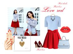 """""""_Love red_"""" by lejla-husiiic ❤ liked on Polyvore featuring Glamorous, Gianvito Rossi, Chicwish, Dolce&Gabbana, Lime Crime and Oscar de la Renta"""