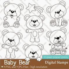 Baby Bear Digital Stamps by pixelpaperprints on Etsy Felt Patterns, Embroidery Patterns, Quilting Patterns, Ribbon Embroidery, Machine Embroidery, Felt Crafts, Paper Crafts, Digi Stamps, Coloring Pages