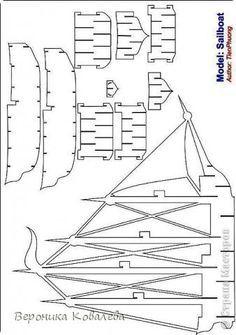 Открытка День рождения Вырезание Киригами pop-up Корабль + схема Бумага фото 13
