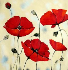 pinturas de amapolas rojas - Buscar con Google