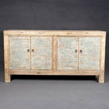 Chinese elm sideboard with traces of blue lacquer.  About 100 years old.  Width: 161cm  Depth: 44cm  Height: 85cm