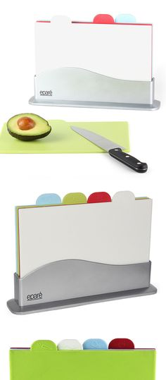 Index chopping board - with different color coding for cutting different foods, ie. meat, fish, vegetables & bread #product_design
