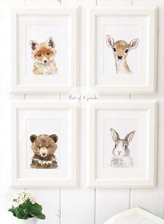 Woodland Nursery Art - Woodland animals print set of 4 - Animal Portrait Set  - Animal Art - Home Decor - Giclee - Deer , Bear , Fox, Bunny