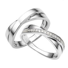 Wedding Ring Sets His and Hers Silver Couple by VANKLEJewelry, $79.00 #HisandHersDiamondWeddingRingSets
