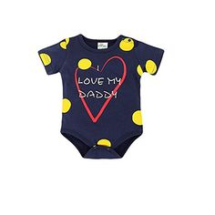 CuteOn Baby Girls Boys Cotton Romper ShortSleeved Letter Print Bodysuit Navy Blue 95cm >>> You can get additional details at the image link.