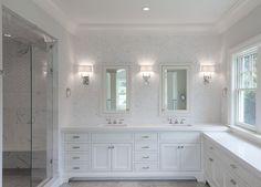 Bathroom wall tile. Bathroom wall tile design. Herringbone Bathroom wall tile. #Bathroom #WallTile Blue Water Home Builders.