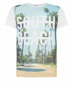 White South Beach Tropical Graphic Print T-Shirt new look