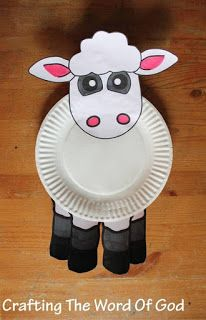 cute and simple lamb craft will be a great add-on to any Bible lesson. It can be used for: Cain and Abel's offerings to God. Kids Crafts, Sheep Crafts, Toddler Crafts, Preschool Crafts, Projects For Kids, Dinosaur Crafts, Animal Crafts For Kids, Paper Plate Art, Paper Plate Animals