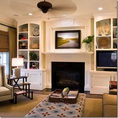 Traditional Living Room Built In Bookcase Design, Pictures, Remodel, Decor and Ideas - page 5 Tv Over Fireplace, Fireplace Built Ins, Fireplace Surrounds, Living Room With Fireplace, Fireplace Design, Home Decor, Built In Around Fireplace, Home And Living, Room Layout