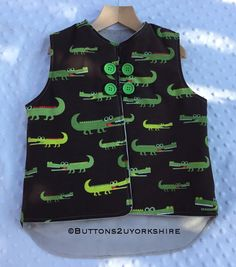 Gilet, crocodiles, childs crocodile gilet, outdoor play, cozy and warm. by on Etsy Crocodiles, Outdoor Play, Cozy, Warm, Sewing, Children, Clothing, Christmas, Young Children