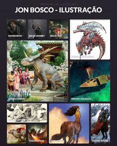 This is my second influence map. It is about illustratorsI admire and I use as a reference to my work.  Pt-BR: Este é meu segundo mapa de influências. Coloquei nele ilustradores que admiro e uso como referêcia pro meu trabalho de ilustração.  #influencemap #mapadeinfluência #illustration #ilustração #pintura #painting #digitalpainting #pinturadigital #digital #jonbosco #jonboscoart #markodjurdjevic #djurdjevic #bradrigney #cryptcrawler #ruanjia #jamesgurney #dinotopia #terrylwhitlatch…