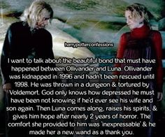I want to talk about the beautiful bond that must have happened between Ollivander and Luna. Ollivander was kidnapped in 1996 and hadn't been rescued until He was thrown in a dungeon & tortured. Harry Potter Stories, Theme Harry Potter, Harry Potter Facts, Harry Potter Books, Harry Potter Love, Harry Potter Universal, Harry Potter Fandom, Harry Potter World, Harry Potter Hogwarts