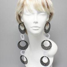 Basketball Wives Rhodium Black Circle Hoop Disk Long Fashion Earrings