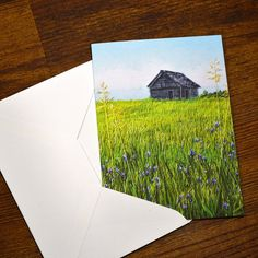 Blank Greeting Card No.4 with Envelope Featuring Images of Prairie Threadpaintings Embroidered by Monika Kinner-Whalen