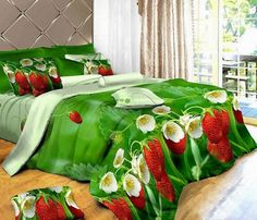 strawberry bedding sheets | strawberry floral comforter bedding set queen quilt duvet cover bed ...