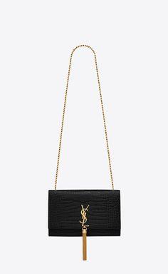Saint Laurent Medium Kate Tassel Chain bag in black crocodile embossed leather (RRP $3065 AUD)