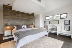 Possible Master bedroom look and feel - smoked oak floors, feature timber head board and hanging pendant lights following the grey white palette