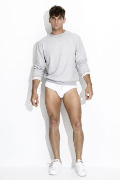grey sweatshirt and white brief