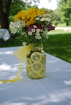 I took thispic at my BFF's wedding Lemons & flowers in mason jars