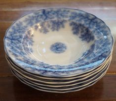 R. Daniel Bowls - 1840 Pottery Marks, Victorian Design, Bright Colors, Vintage Antiques, Blue And White, Plates, Bowls, Flow, Tableware