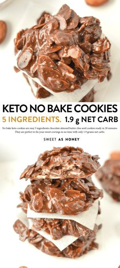 No bake keto cookies Chocolate almond butter cookies - Sweetashoney Keine Keto-Kekse backen Schokola Keto Cookies, Bite Size Cookies, Healthy Cookies, No Bake Cookies, Pumpkin Cookies, Chip Cookies, Keto Foods, Keto Snacks, Keto Recipes