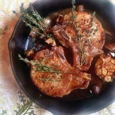 Cast-Iron Roasted Pork Chops - Steve made for our 20th anniversary dinner 5-26-2016