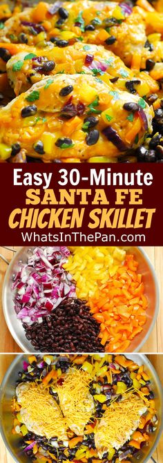 Easy, 30-Minute Santa Fe Chicken Skillet: gluten free chicken breasts with bell peppers, black beans, and Cheddar Cheese.  weeknight dinner recipe.