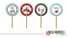 Baby Boy Cupcake Topper  Turquoise & Red by KelliNichollsDesigns, $15.00