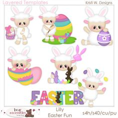 Lilly Lamb Easter Fun Templates - Kristi W Designs