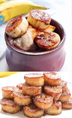 Need healthy fun snacks for kids that they will actually eat and will take just minutes to whip up? These pan fried cinnamon bananas are a delicious and nutritious sweet treat that require only a handful of ingredients (bananas, sugar, cinnamon, nutmeg an Baby Food Recipes, Baking Recipes, Keto Recipes, Easy Recipes, Fried Banana Recipes, Toddler Dinner Recipes, Food Baby, Skillet Recipes, Baking Desserts
