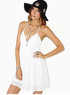 Sexy Women Chiffon Deep V Neck Backless White Mini Dress Summer Holiday Sundress White Sundress, White Mini Dress, Women's A Line Dresses, Women's Dresses, Chiffon Dresses, Casual Dresses, Latest Street Fashion, White V Necks, Dress Backs