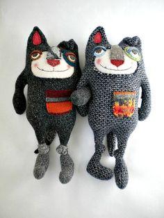 Dog Stuffed Animal Felted Wool Sweater Repurposed by sweetpoppycat, $50.00