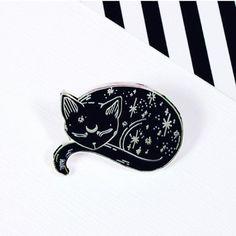 Broche chat mystique / / Loll3, chat qui dort, noir broche chat, spooky, halloween / / EP141