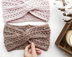 Knitted Earwarmer Pattern/ Twist Turban Style Headband/ Intermediate Knitting Pattern/ Headwrap Knitting Pattern/ The Vanessa Earwarmer - knittings headband Chunky Knitting Patterns, Lace Knitting, Knit Patterns, Crochet Headband Pattern, Twist Headband, Crochet Scarves, Knitting Projects, Etsy, Couture