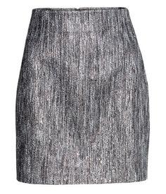 silver jacquard-weave skirt H&M