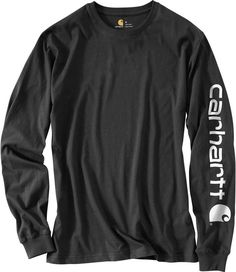 Durability and comfort combine with this Carhartt Long Sleeve T-shirt. It has an original fit with a cotton jersey knit construction. The Carhartt signature logo is printed on the chest and back Stylish Shirts, Simple Shirts, Carhartt T Shirt, Work Shirts, Black Cotton, Long Sleeve Shirts, Shirt Designs, Sleeves, Mens Tops