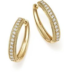Diamond Rope Edged Hoop Earrings in 14K Yellow Gold, .40 ct. t.w. ($1,915) ❤ liked on Polyvore featuring jewelry, earrings, gold earrings, yellow gold earrings, 14k hoop earrings, yellow gold hoop earrings and diamond earrings