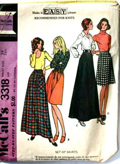 vintage 70's McCalls 3318 Set of Skirts including by monicacarmel, $5.00