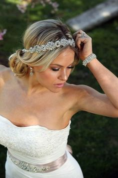 Stunning crystal headband for the bohemian bride