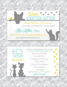 Modern pet sitting business cards by Wentroth Designs. Visit us on Facebook to see much more and to request a custom price quote for your business or event!
